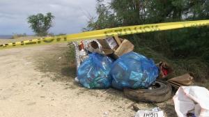 Trash along the beach