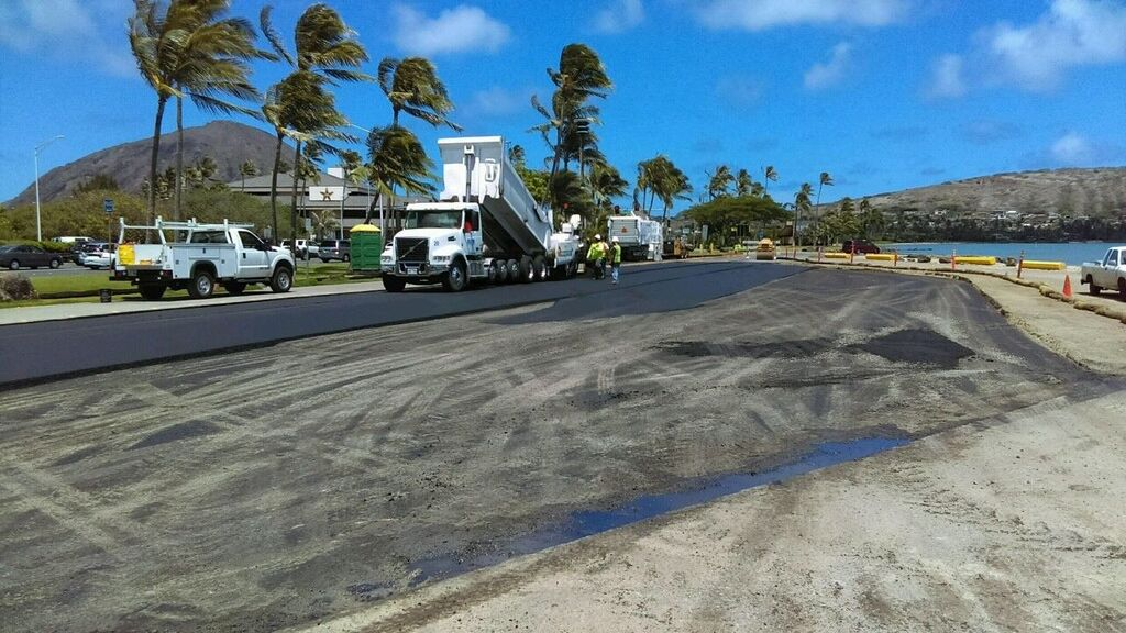 Paving at Maunalua Bay boat launch ramp parking lot