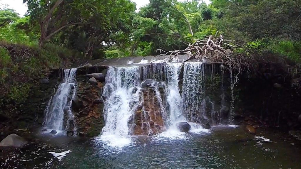 Photo of the waterfall in Iao Stream, since renamed Wailuku River, courtesy Bob Horcajo.